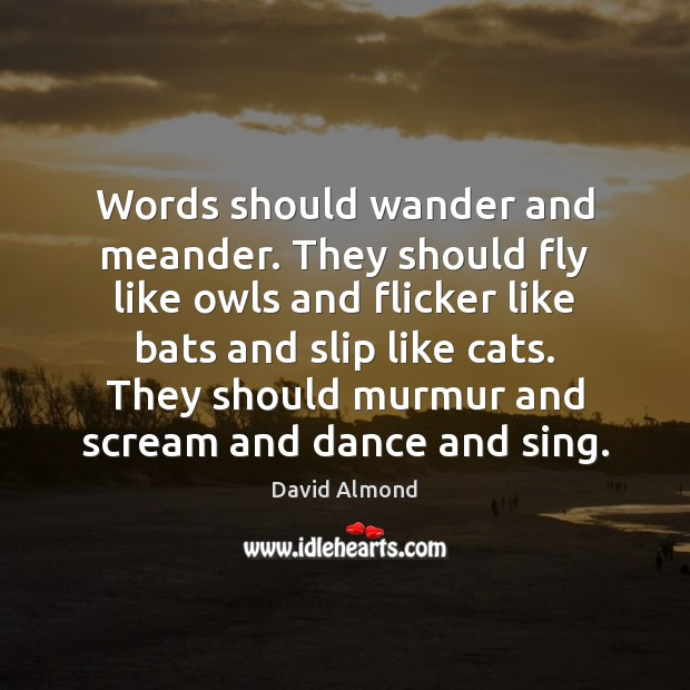 Words should wander and meander. They should fly like owls and flicker Image