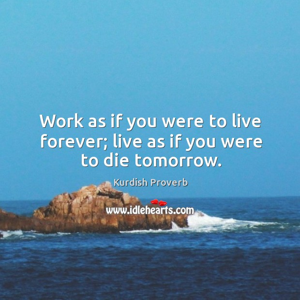 Work as if you were to live forever; live as if you were to die tomorrow. Kurdish Proverbs Image