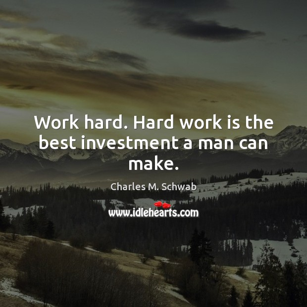 Work hard. Hard work is the best investment a man can make. Charles M. Schwab Picture Quote