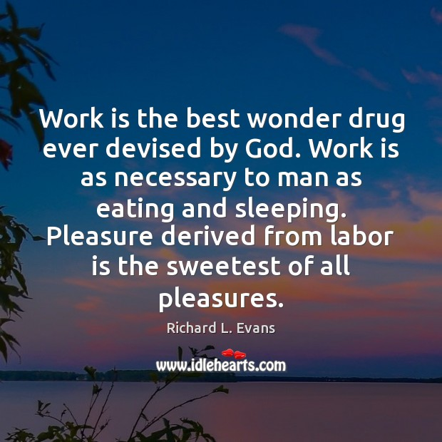 Work is the best wonder drug ever devised by God. Work is Richard L. Evans Picture Quote