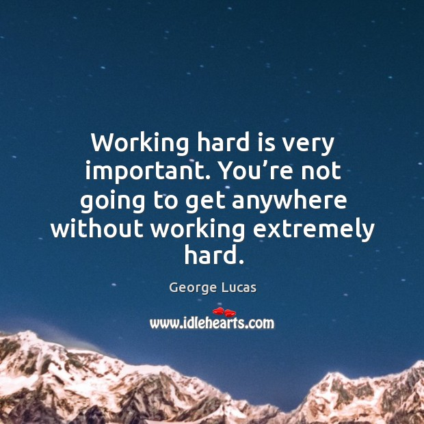 Image, Working hard is very important. You're not going to get anywhere without working extremely hard.