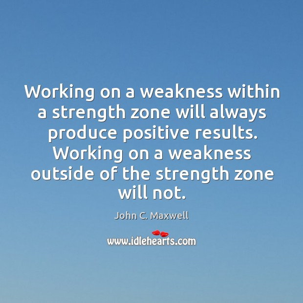 Image, Working on a weakness within a strength zone will always produce positive