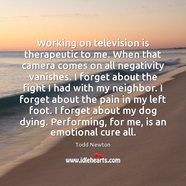 Working on television is therapeutic to me. When that camera comes on Television Quotes Image
