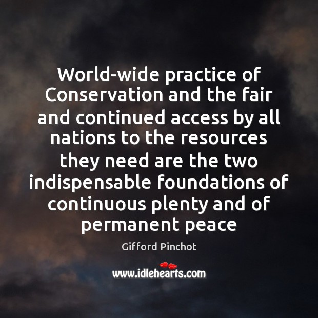 World-wide practice of Conservation and the fair and continued access by all Gifford Pinchot Picture Quote