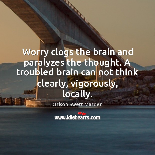 Worry clogs the brain and paralyzes the thought. A troubled brain can Orison Swett Marden Picture Quote