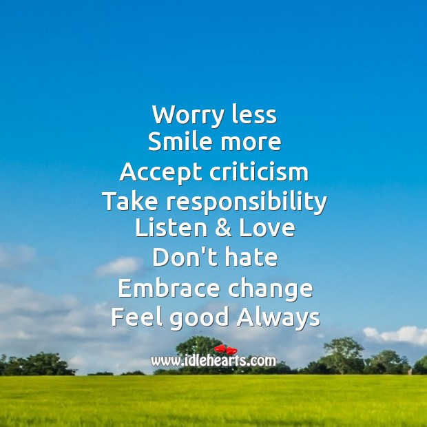 Image, Worry less, smile more.