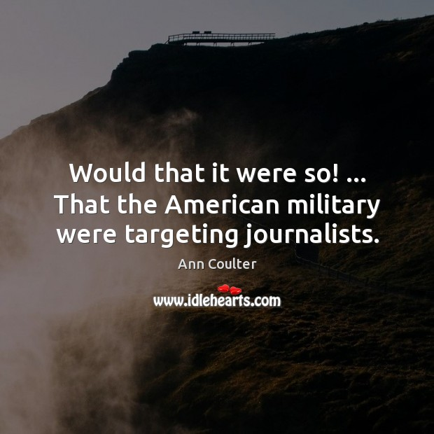 Image, Would that it were so! … That the American military were targeting journalists.