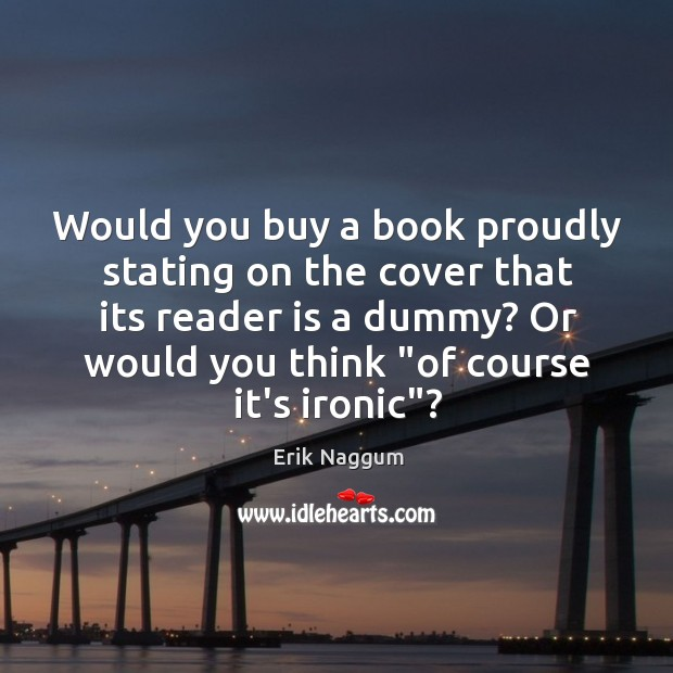 Image, Would you buy a book proudly stating on the cover that its