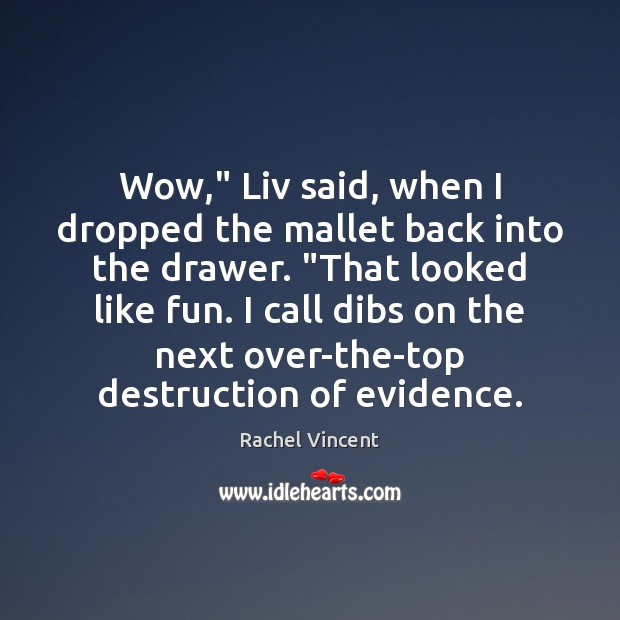 "Wow,"" Liv said, when I dropped the mallet back into the drawer. "" Image"