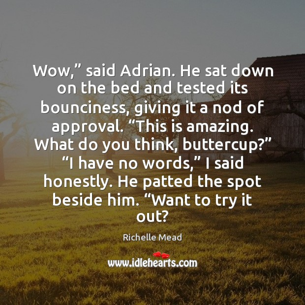 """Image, Wow,"""" said Adrian. He sat down on the bed and tested its"""