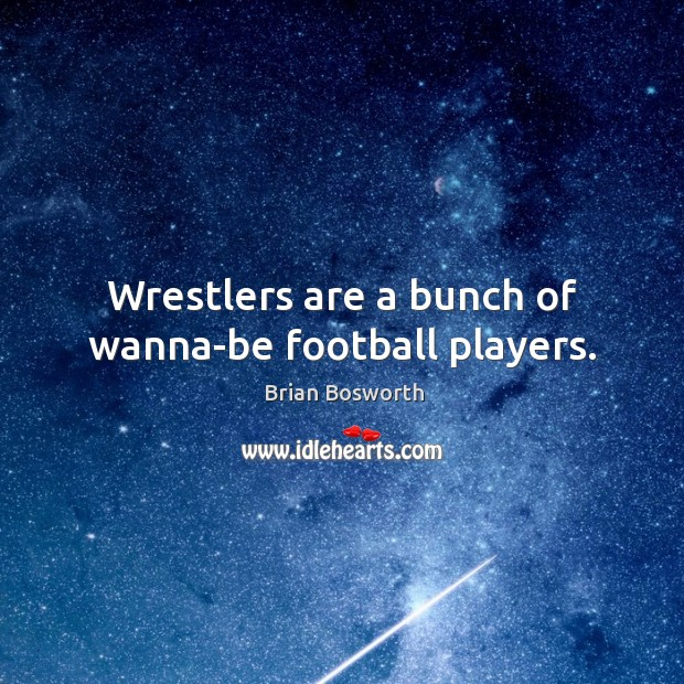 Wrestlers are a bunch of wanna-be football players. Brian Bosworth Picture Quote