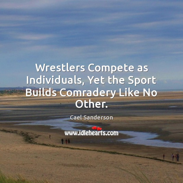 Image, Wrestlers Compete as Individuals, Yet the Sport Builds Comradery Like No Other.