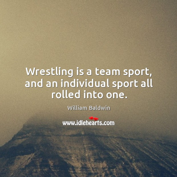 Wrestling is a team sport, and an individual sport all rolled into one. William Baldwin Picture Quote