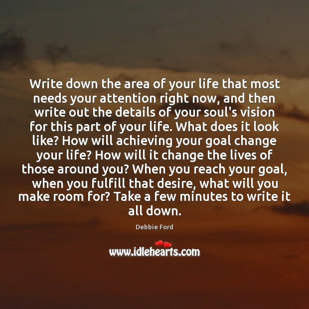 Write down the area of your life that most needs your attention Image