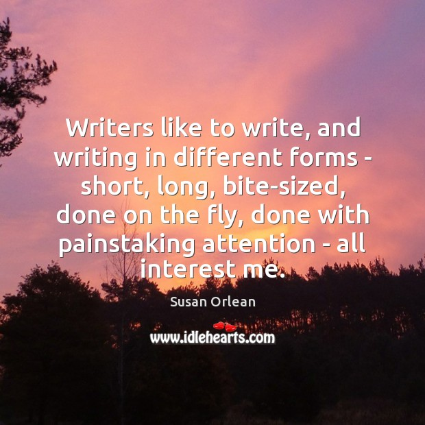 Writers like to write, and writing in different forms – short, long, Susan Orlean Picture Quote