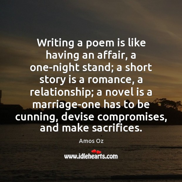 Image, Writing a poem is like having an affair, a one-night stand; a