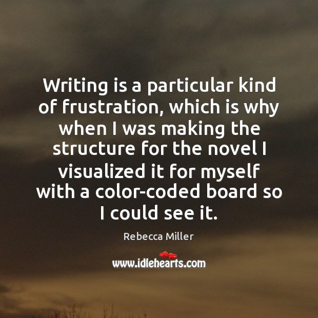 Writing is a particular kind of frustration, which is why when I Image