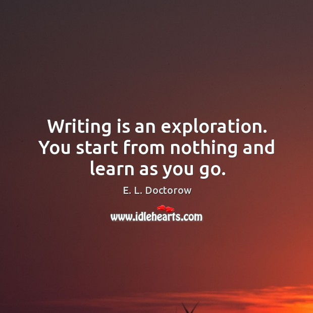 Image, Writing is an exploration. You start from nothing and learn as you go.