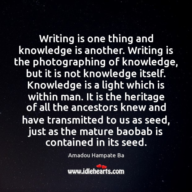 Writing is one thing and knowledge is another. Writing is the photographing Image