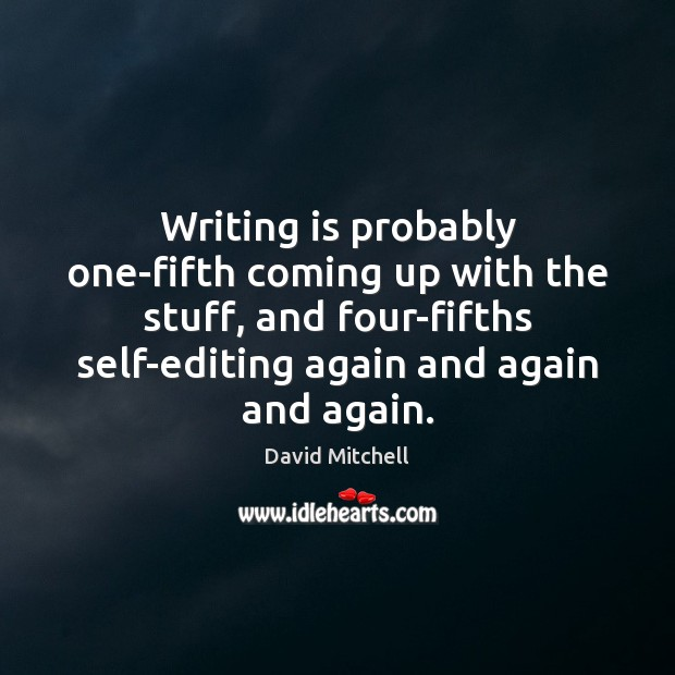 Image, Writing is probably one-fifth coming up with the stuff, and four-fifths self-editing