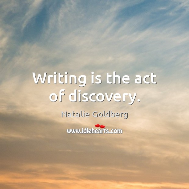 Writing is the act of discovery. Writing Quotes Image