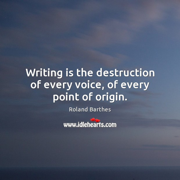 Writing is the destruction of every voice, of every point of origin. Roland Barthes Picture Quote