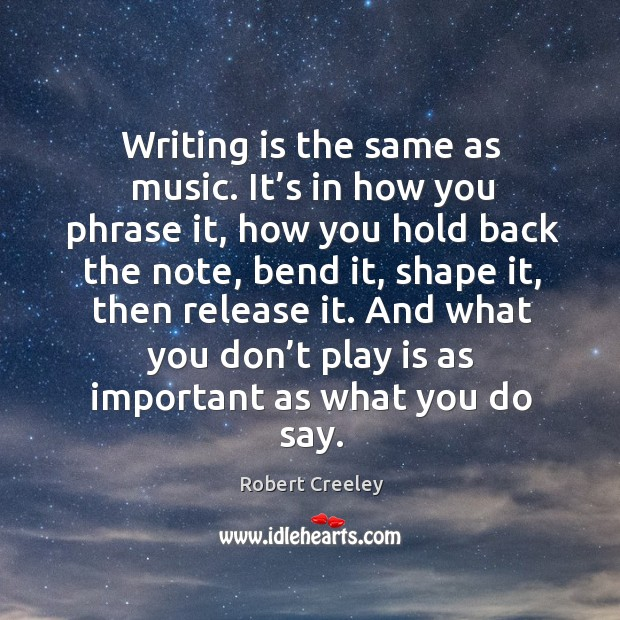 Writing is the same as music. It's in how you phrase Image