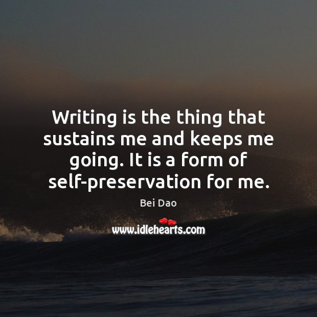 Image, Writing is the thing that sustains me and keeps me going. It