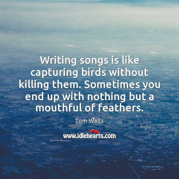 Writing songs is like capturing birds without killing them. Sometimes you end Image