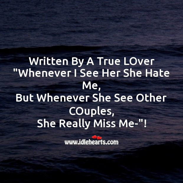 Written by a true lover Missing You Messages Image