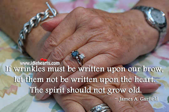 James A. Garfield Picture Quote image saying: The spirit should not grow old.