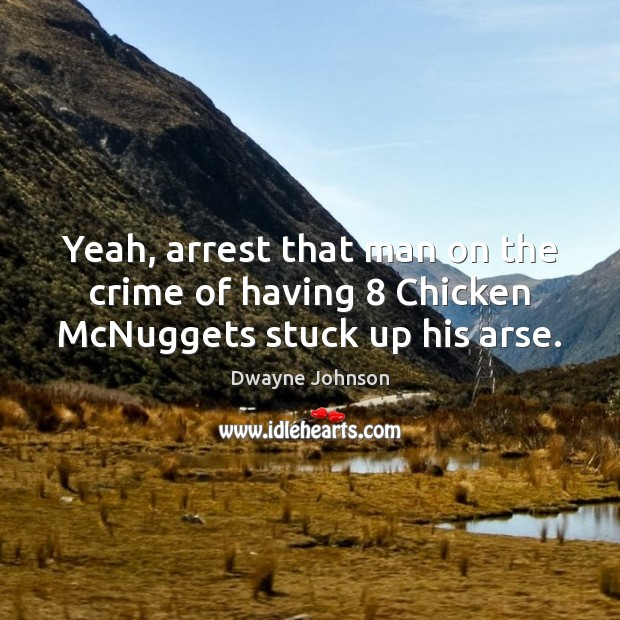 Yeah, arrest that man on the crime of having 8 Chicken McNuggets stuck up his arse. Dwayne Johnson Picture Quote