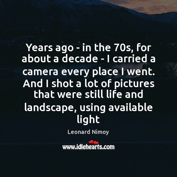 Years ago – in the 70s, for about a decade – I Image