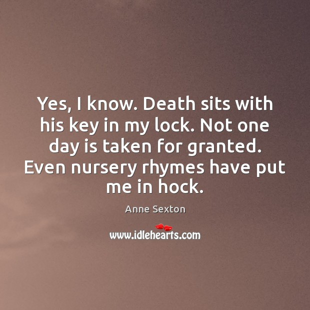 Yes, I know. Death sits with his key in my lock. Not Image