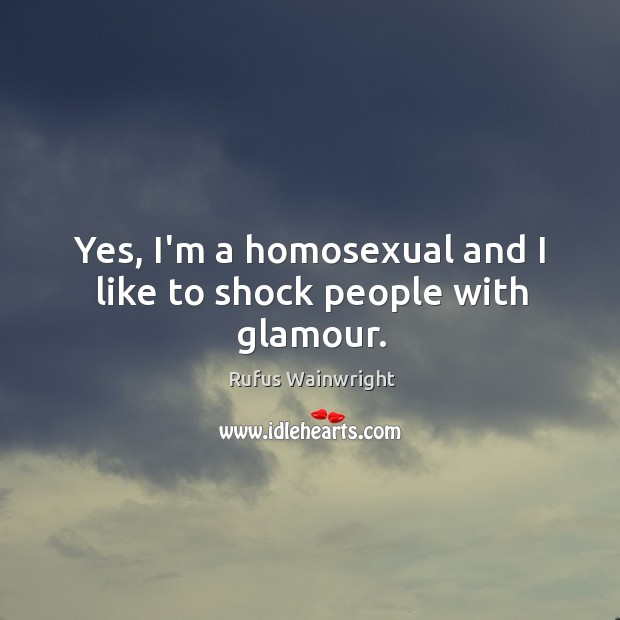 Yes, I'm a homosexual and I like to shock people with glamour. Image