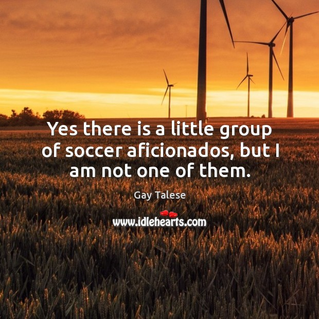 Yes there is a little group of soccer aficionados, but I am not one of them. Gay Talese Picture Quote