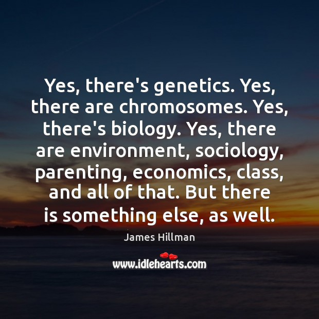 Yes, there's genetics. Yes, there are chromosomes. Yes, there's biology. Yes, there James Hillman Picture Quote