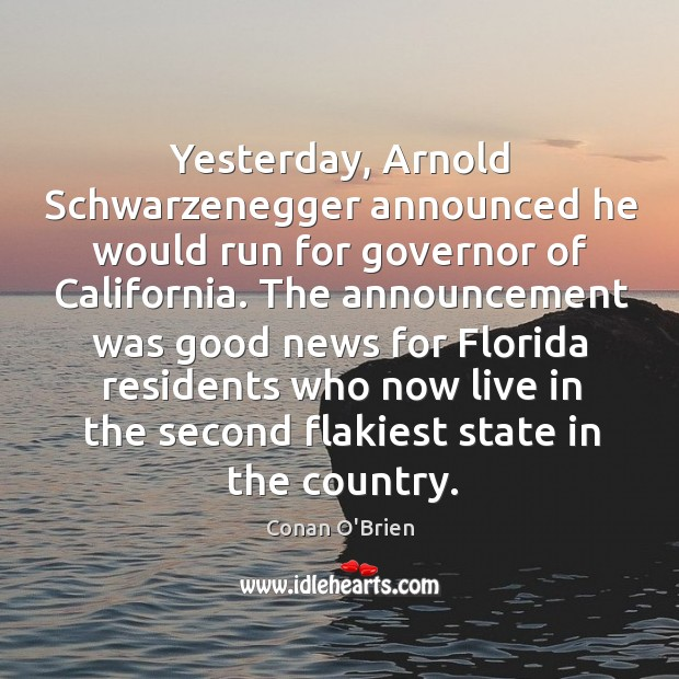 Yesterday, Arnold Schwarzenegger announced he would run for governor of California. The Image