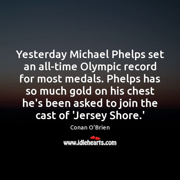 Yesterday Michael Phelps set an all-time Olympic record for most medals. Phelps Image