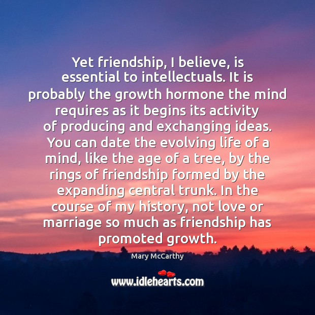 Yet friendship, I believe, is essential to intellectuals. It is probably the Mary McCarthy Picture Quote