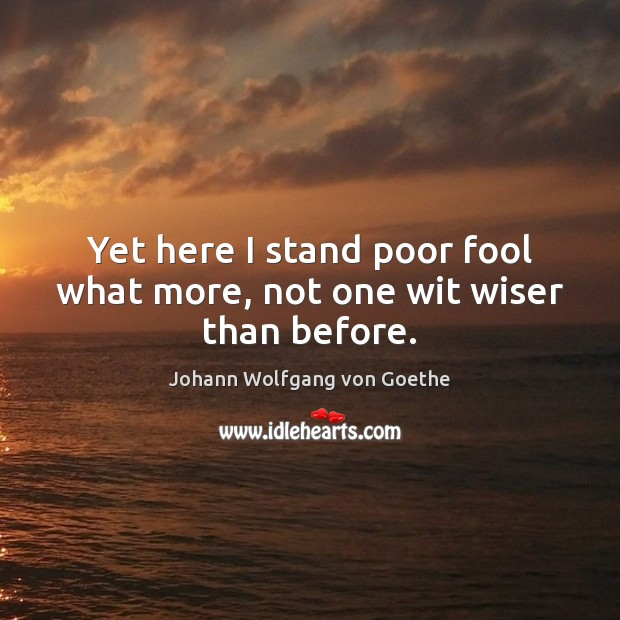 Yet here I stand poor fool what more, not one wit wiser than before. Image