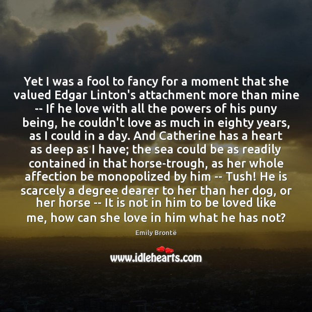 Yet I was a fool to fancy for a moment that she Emily Brontë Picture Quote