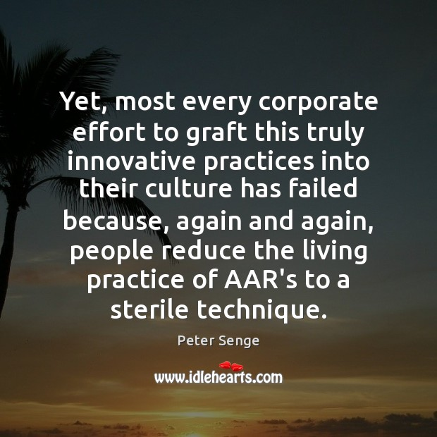 Yet, most every corporate effort to graft this truly innovative practices into Peter Senge Picture Quote