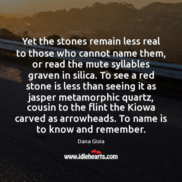 Yet the stones remain less real to those who cannot name them, Image