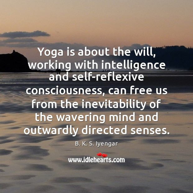 Yoga is about the will, working with intelligence and self-reflexive consciousness, can B. K. S. Iyengar Picture Quote