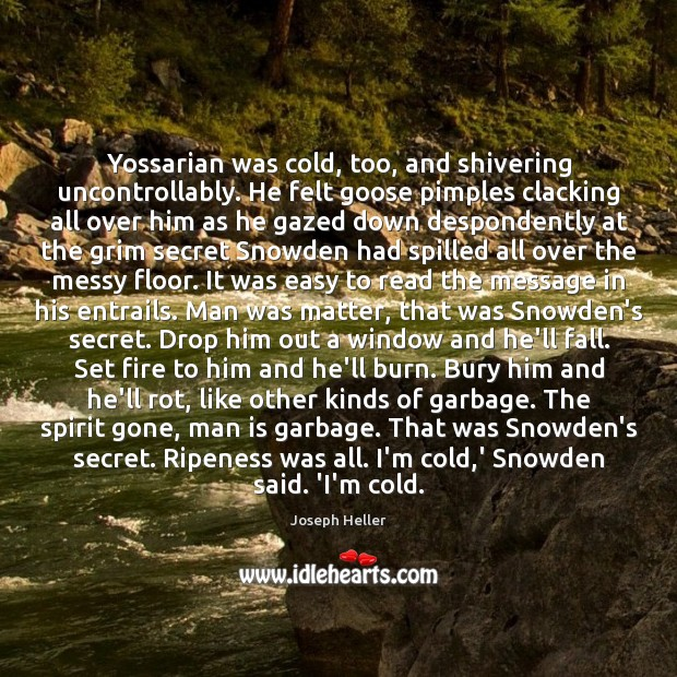 Yossarian was cold, too, and shivering uncontrollably. He felt goose pimples clacking Joseph Heller Picture Quote