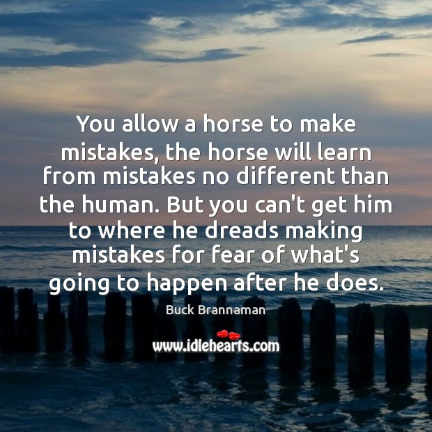 You allow a horse to make mistakes, the horse will learn from Image