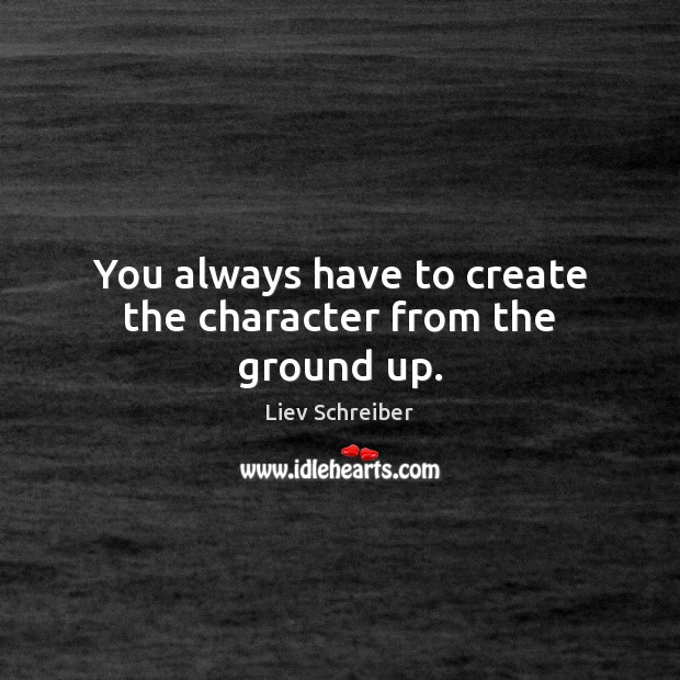 You always have to create the character from the ground up. Image