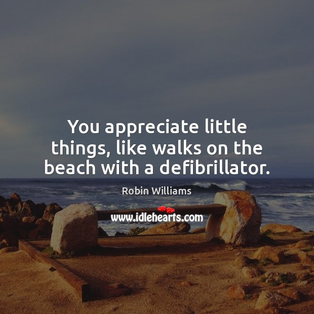 You appreciate little things, like walks on the beach with a defibrillator. Robin Williams Picture Quote