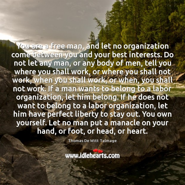 You are a free man, and let no organization come between you Thomas De Witt Talmage Picture Quote